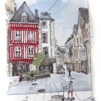 aquarelle-quimper-rue -kereon